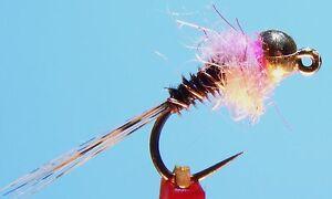 Frenchie Jig Nymphe, Rose, 6 Pêche à La Mouche Mouches Avec Tungsten Bead (sz.16)-afficher Le Titre D'origine Vif Et Grand Dans Le Style
