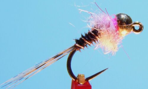 Pink Sz.16 6 Fly Fishing Flies with Tungsten Bead Frenchie Jig Nymph