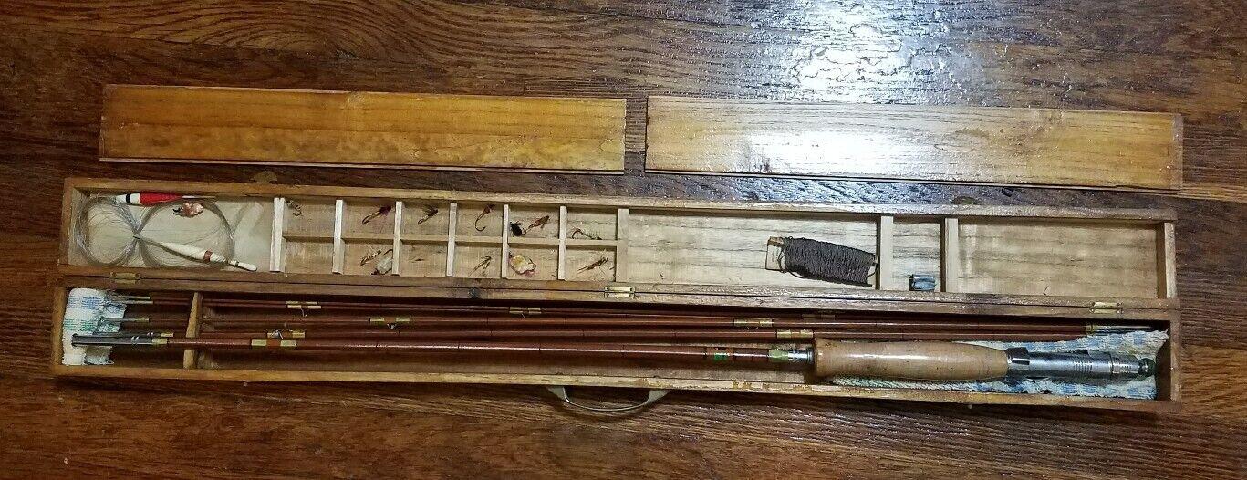 RARE Vintage SAKURA regenboog  19 Fishing Rod w Houten Box Set