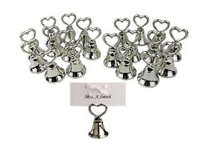 20-Silver-Table-Place-Name-Holder-Love-Heart-Bell-Wedding-Party-Tag-Cards-Ribbon