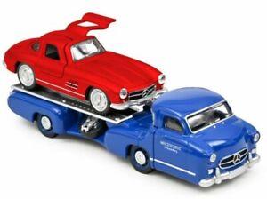 MB Mercedes Benz Renntransporter + MB 300 SL - 1955 - blue / red - Norev 1:64