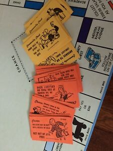 Vintage-1961-Monopoly-Chance-And-Community-Chest-Cards-Complete-32-Cards