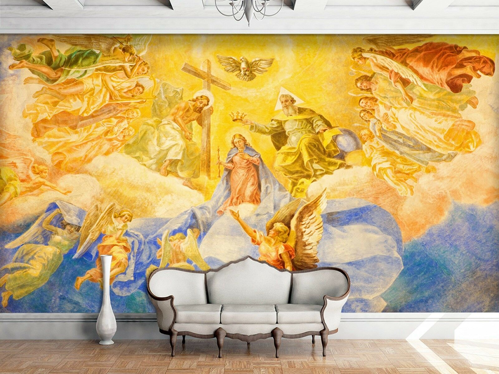 3D Gold Brilliant Heaven 2 Wallpaper Mural Print Wall Indoor Wallpaper Murals UK