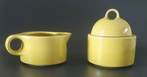 Noritake-Primastone-Radiant-Sugar-Bowl-w-Lid-amp-Creamer-Set-Yellow-Made-In-Japan