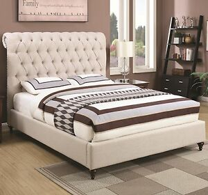 Incroyable Image Is Loading BEIGE BUTTON TUFTED FABRIC FULL SCROLLED HEADBOARD SLEIGH