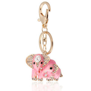 5139eb84294 Details about Handbag Buckle Charms Accessories Pink Elephants Keyrings Key  Chains HK37