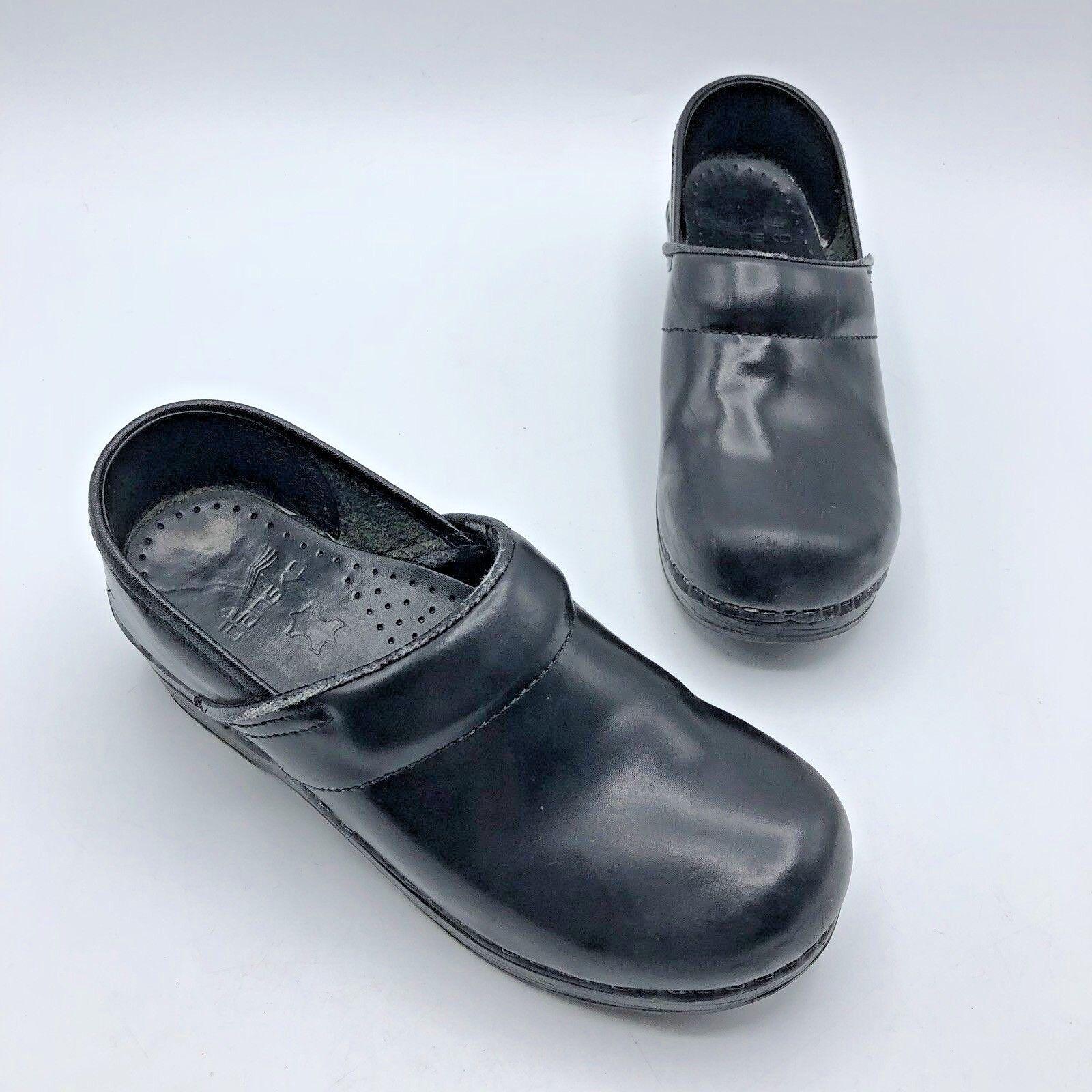 Dansko Women Black Leather Staple Clog Loafer shoes Size 5.5 EUR 36 Pre Owned