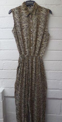 Women Ladies New Cotton Beige Tiger Sleeveless Stretchy Pocket Jumpsuit UK 8-14