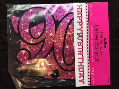 Large 90th Birthday Letter Banner Pink Party Decoration Age 90 Prismatic Sparkle