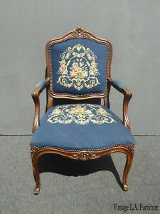 Image Is Loading Vintage French Provincial Blue Tapestry Needlepoint Accent  Chair