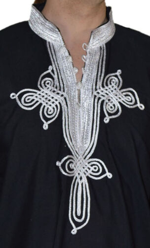 Moroccan Men Tunic Shirt Cafan Casual Handmade Embroidered Cotton X Large Black
