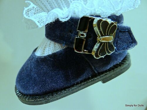 """NAVY BLUE SUEDE Butterfly DOLL SHOES fits American Girl 15/"""" BITTY BABY /& TWINS"""