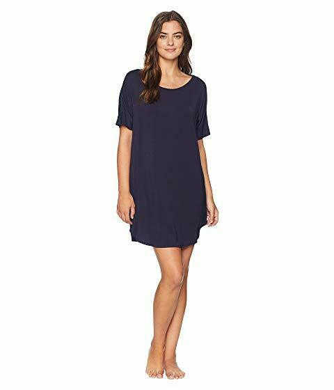 Natori FEATHERS ESSENTIALS Night bluee Jersey Knit Sleep Shirt Gown w  Lace - XS