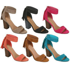 New Women Britany-1 Faux Suede Open Toe Ankle Cuff Block Heel Sandal
