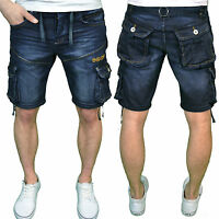 Crosshatch Mens Designer Branded Darkwash Denim Casual Summer Shorts, BNWT