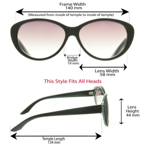 Cat Eye Womens Full Lens Tinted Reading Sunglasses Sun Reader Glasses 1.0-3.5