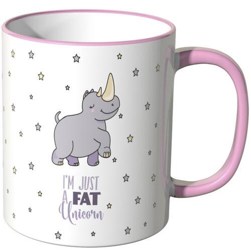 """JUNIWORDS Tasse Spruch /""""I´m just a fat Unicorn/"""" versch Farben Geschenk"""