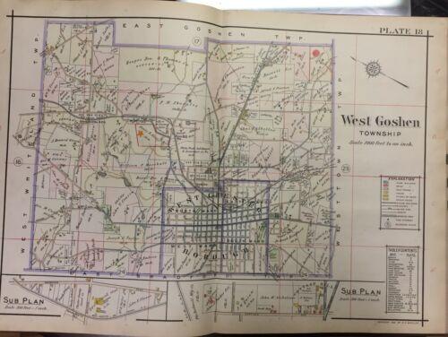1912 WEST CHESTER WEST GOSHEN PA FRIENDS GREENMOUNT CEMETERY ATLAS MAP OAKLAND