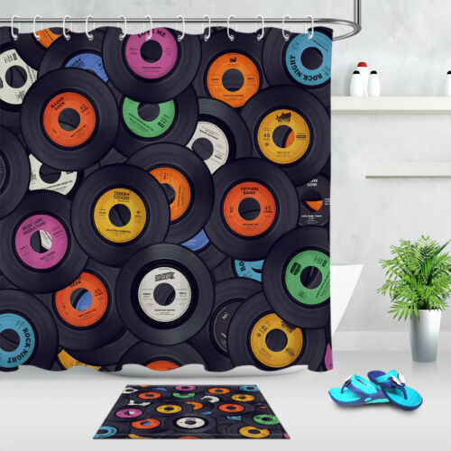 Retro Vinyl Record Shower Curtain Liner Bathroom Set Polyester Fabric /& Hooks