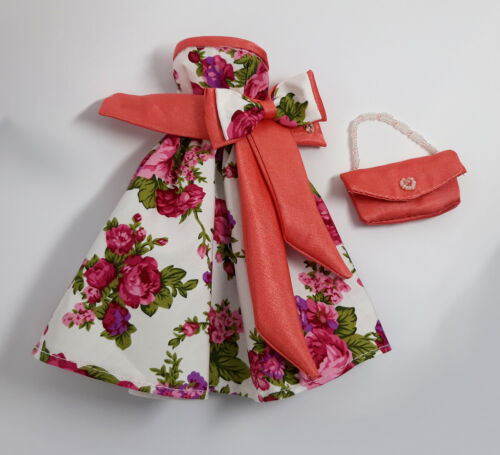 Handmade Purple Rose Old-Rose Outfit Dress Bag For Silkstone Muse FR Doll
