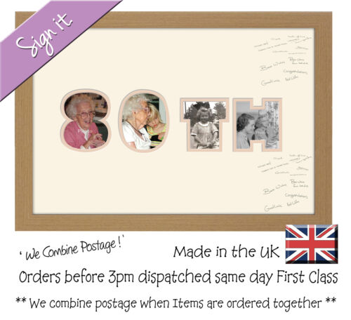 80th Birthday Signing Photo Frame Double Mount Guest Book 877D Photos in a Word