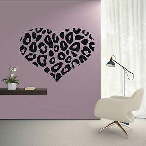 Wandtattoo Wandaufkleber Herz Leopard Muster Style Liebe Wohnzimmer