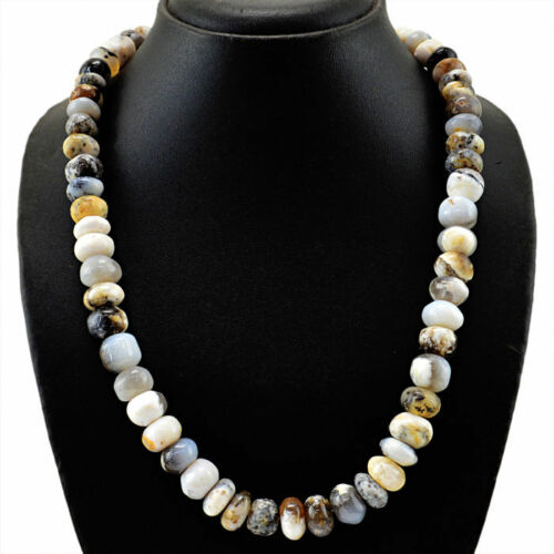Genuine Dendrite Opal collier avec 18 KT or fermoir 750//1000 longueur 54 cm