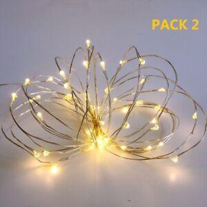 TIMER CHRISTMAS SILVER GARLAND MINI LIGHTS 18 LED LIGHT SET BATTERY POWER
