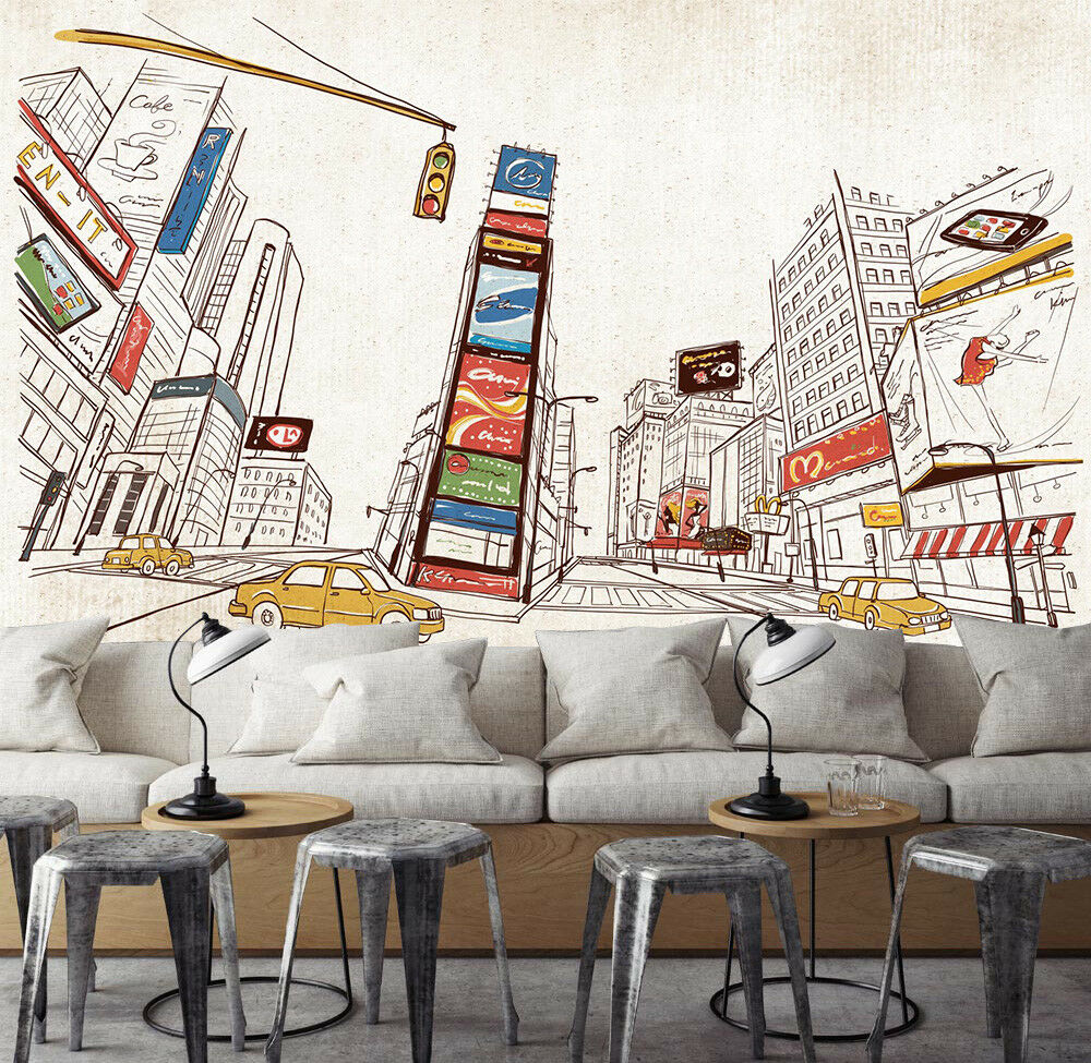 3D color Painted City 8 Wall Paper Murals Wall Print Wall Wallpaper Mural AU Kya