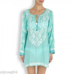 MELISSA-ODABASH-Mint-Embroidered-Dress-Cover-Up-Beach-Dress-Kaftan-Bikini-BNWT