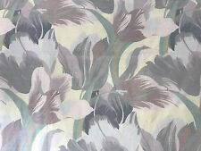 Vtg TWIN FLAT Sheet Dan River Floral Green Purple Pastel 80s Percale Fabric