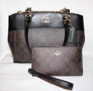 Coach-Signature-Mini-Brooke-Carryall-Bag-Phone-Wallet-Set-BROWN-BLACK-NWT-515