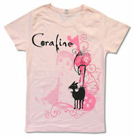"""CORALINE """"BLACK CAT"""" PINK BABY DOLL T-SHIRT NEW OFFICIAL JUNIORS XL"""