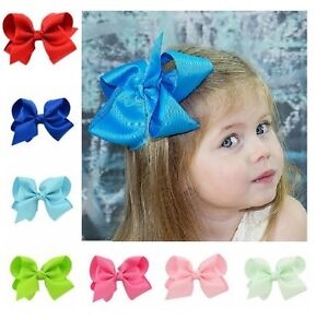 5-INCH-BIG-BOWS-BOUTIQUE-HAIR-CLIP-PIN-ALLIGATOR-CLIPS-GROSGRAIN-RIBBON-BOW-GIRL