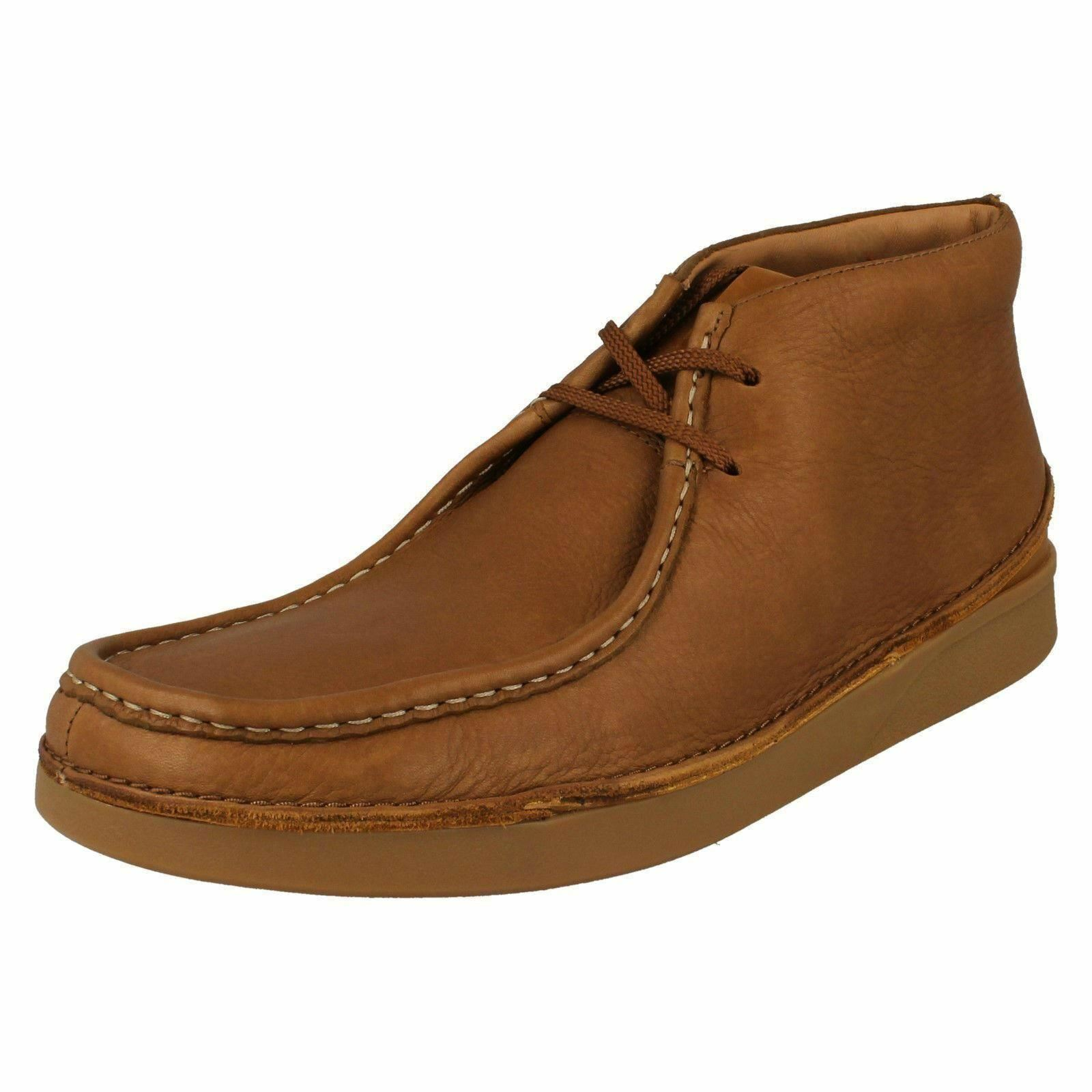 Mens Clarks Oakland Mid Tan Leather Ankle Boots - G Fitting