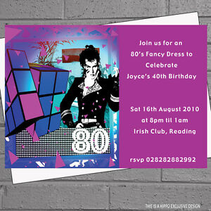 adam ant 80s eighties themed birthday party invitations x 12 envs