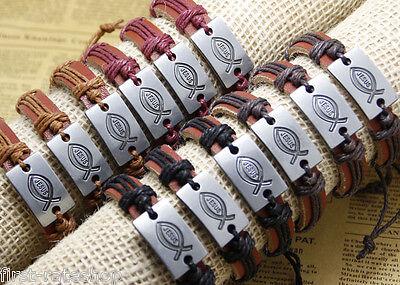 12x/lot adjustable leather bracelets fishing JESUS bangle men cuff bands jewelry