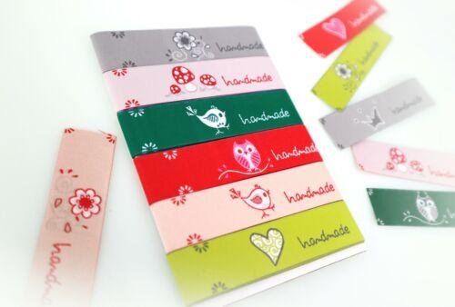 handmade Label Snailfactory natur // grün Etiketten SET 1c 6x45cm Webband