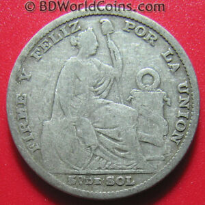 PERU-1891-TF-1-5-SOL-SILVER-LIMA-KEY-DATE-LOW-MINT-SCARCE-SOUTH-AMERICAN-COIN