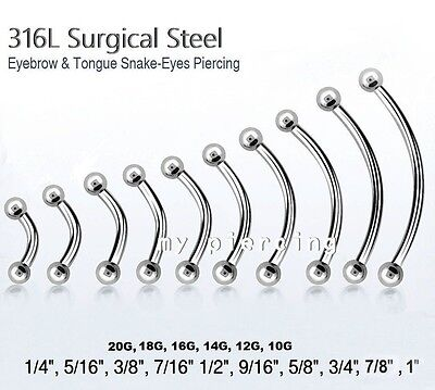 20pcs Stainless Steel Eyebrow Eyes Tongue Navel Curved Barbell 16g Piercing