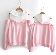 Womens Mixed Colors Off Shoulder Long Sleeves Hoodie Sweatshirt Pullover SZ A235