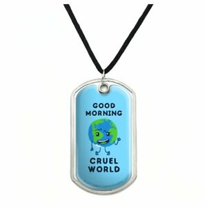 GRAPHICS /& MORE Good Morning Cruel World Funny Humor Silver Plated Bracelet with Antiqued Charm