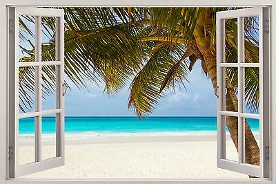 2015 HUGE 3D WINDOW WALL STICKER tropical Beach decal Mural Wall art Vinyl W10