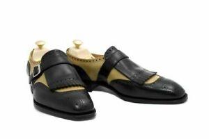 Homme-Fait-a-la-main-Chaussures-bicolores-moine-Ivoire-amp-Noir-Cuir-formelle-Robe-de-porter-des