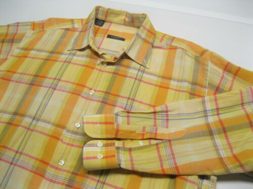 Men's Burberry London Orange Yellow Plaid Linen Sh