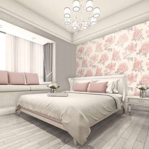 Amara Floral Textured Wallpaper Belgravia Decor Rose Pink Silver Cream Vinyl