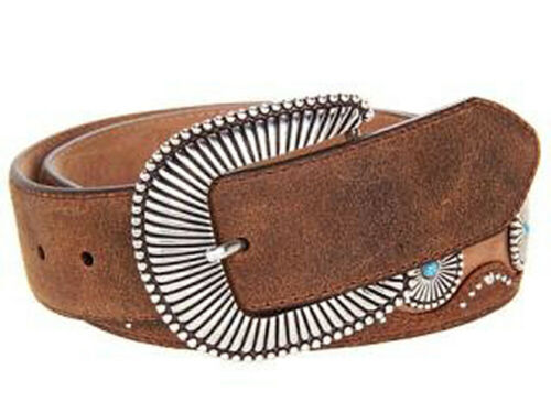 Justin Cortez Canyon Brown Leather Western Belt with Silver Conchos /& Turquoise