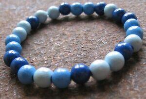 Holz-Armband-Gummiarmband-Herren-Damen-Surferschmuck-Perlen-blau-Surferarmband