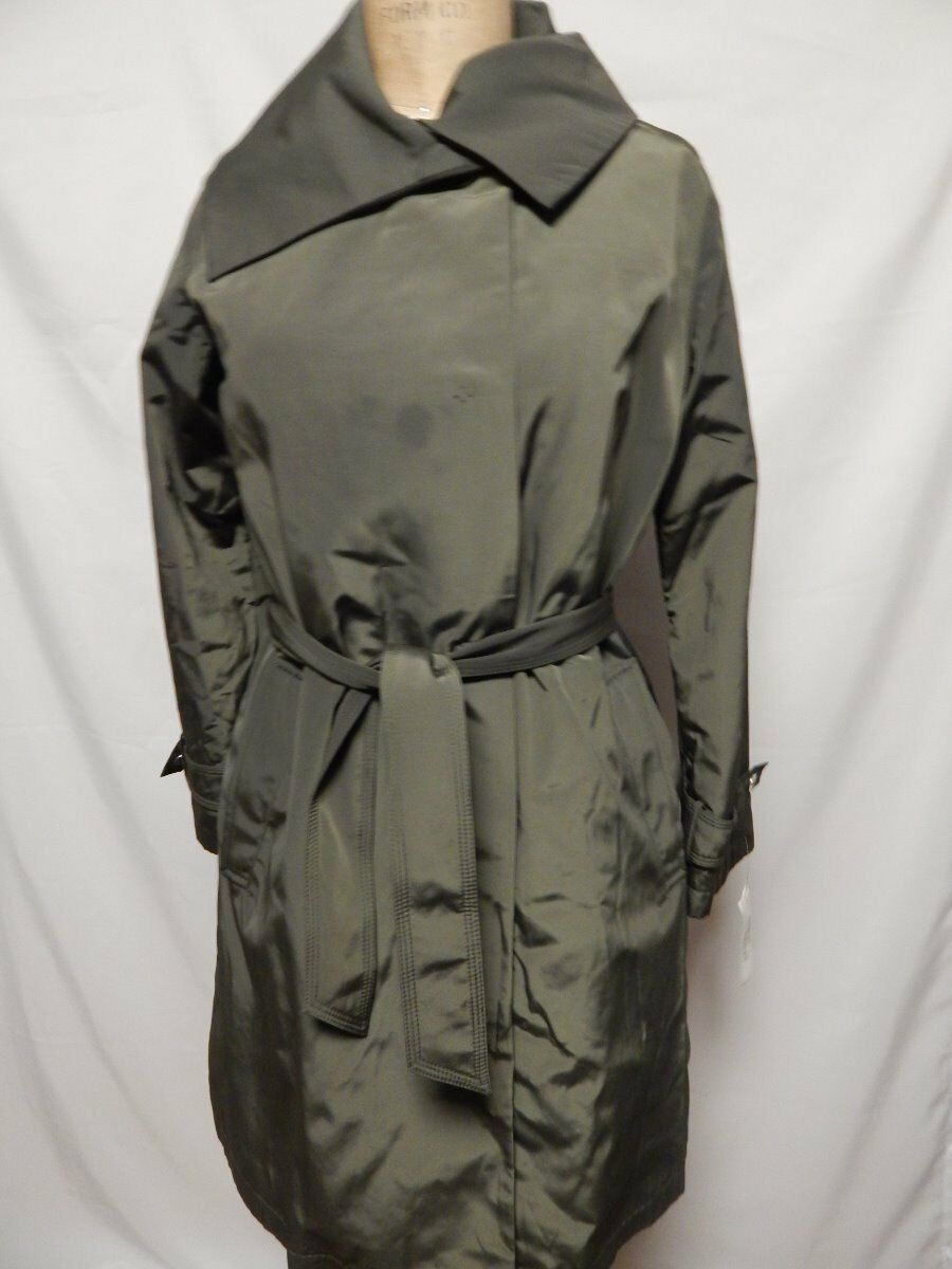 Jane Post Large Collar Belted Trench Coat M Olive New w  Defects