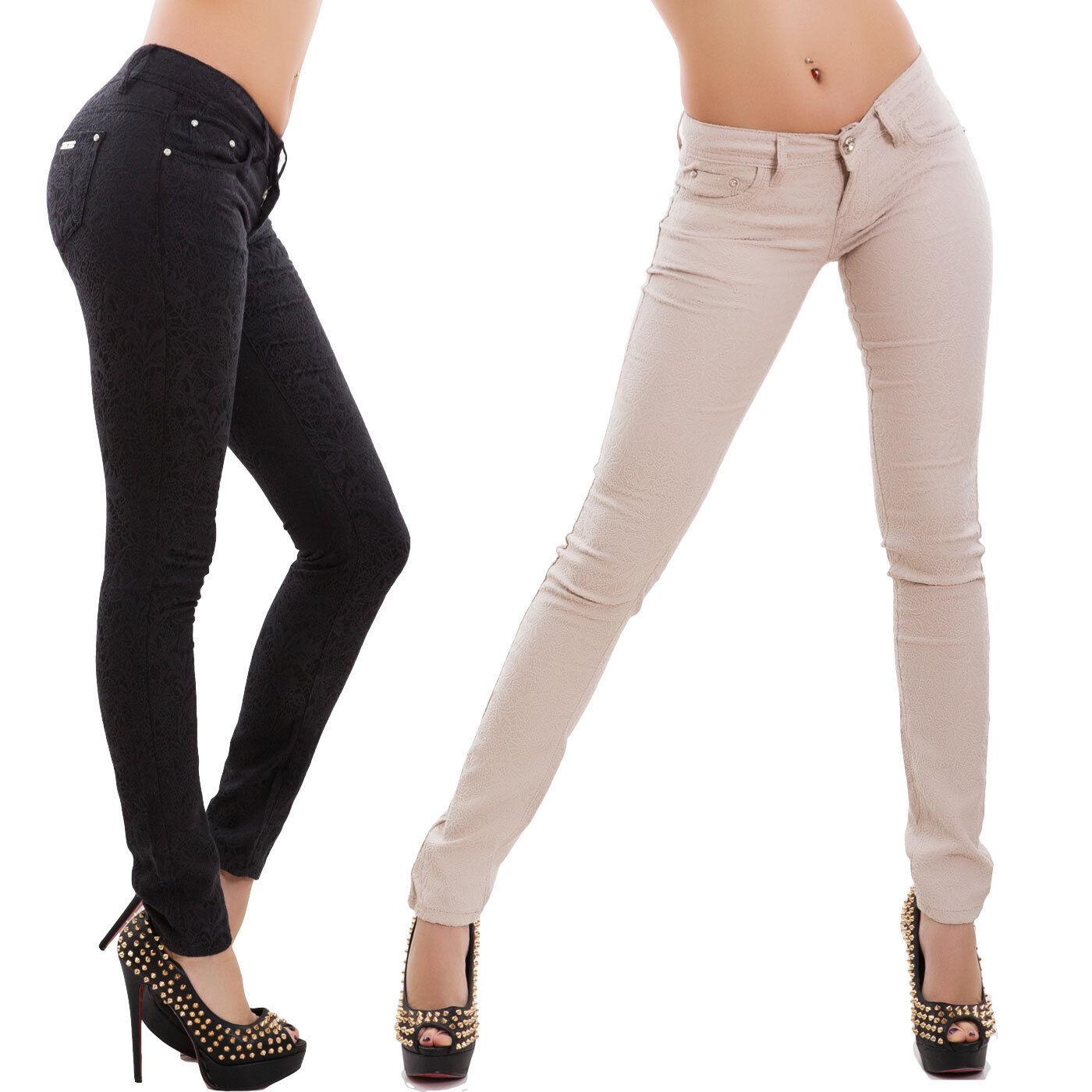 Pantalones de women pitillo slim encaje bordado tapicería talle bajo AR-676